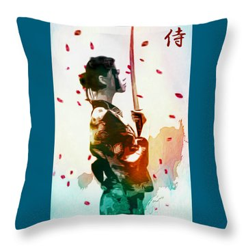 Samurai Girl - Watercolor Painting Throw Pillow