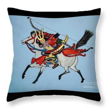 Throw Pillow featuring the painting Samurai Rider by Stephanie Moore