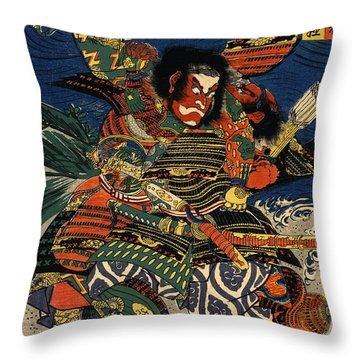 Samurai Warriors Battle 1819 Throw Pillow