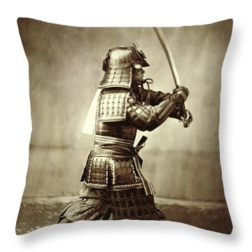 Samurai With Raised Sword Throw Pillow by F Beato