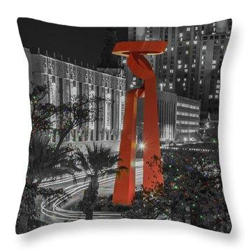 San Antonio La Antorcha De La Amistad Sculpture In Selective Color Throw Pillow