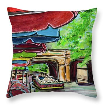 San Antonio River Walk Cafe Throw Pillow