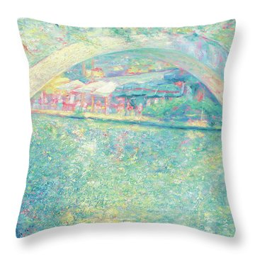 Throw Pillow featuring the painting San Antonio Riverwalk by Felipe Adan Lerma