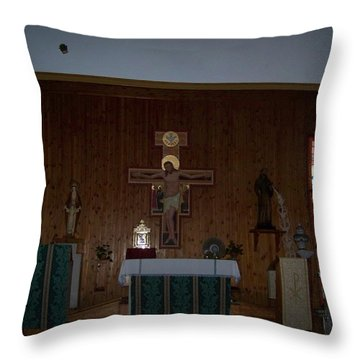San Bernardo Abad,la Virgen Milagrosa Throw Pillow
