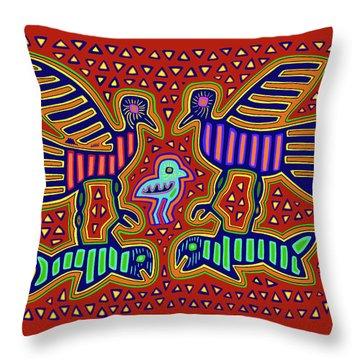 Throw Pillow featuring the digital art San Blas Kuna Bird Family With Fish by Vagabond Folk Art - Virginia Vivier