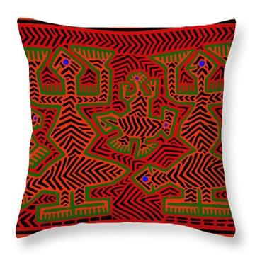 Throw Pillow featuring the digital art San Blas Shaman Spirits by Vagabond Folk Art - Virginia Vivier