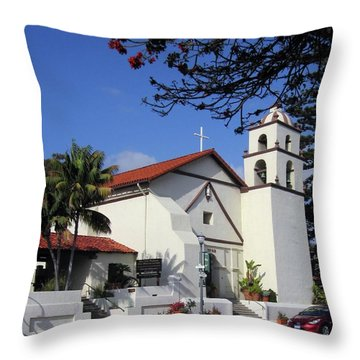 Throw Pillow featuring the photograph San Buenaventura Mission by Mary Ellen Frazee