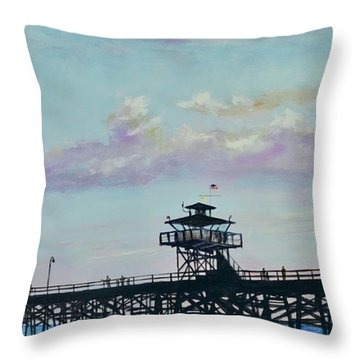 Throw Pillow featuring the painting San Clemente Evening by Mary Scott