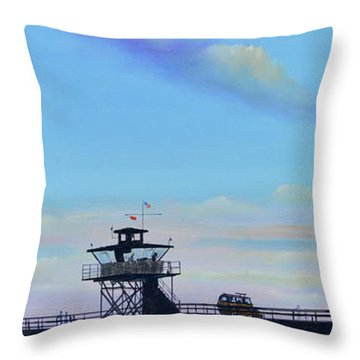 Throw Pillow featuring the painting San Clemente High Surf by Mary Scott