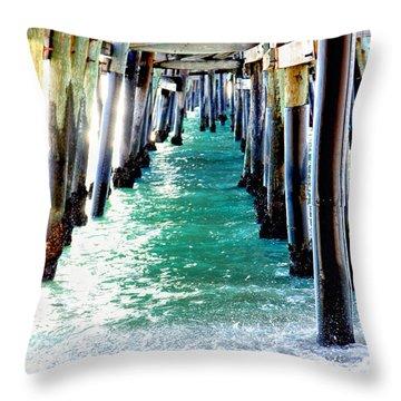 San Clemente Pier Throw Pillow by Rosanne Nitti