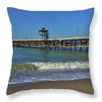 San Clemente Pier Throw Pillow by Tommy Anderson