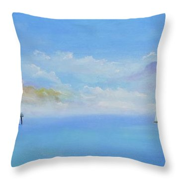 Throw Pillow featuring the painting San Clemente Sail by Mary Scott