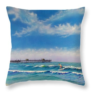 Throw Pillow featuring the painting San Clemente Surf by Mary Scott