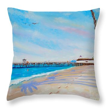 Throw Pillow featuring the painting San Clemente Walk by Mary Scott