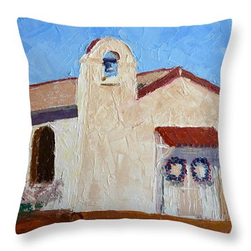 San Cosme Chapel Throw Pillow by Susan Woodward