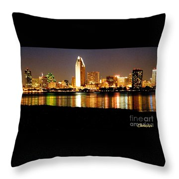 San Diego Skyline With Reflections On Mission Bay Throw Pillow
