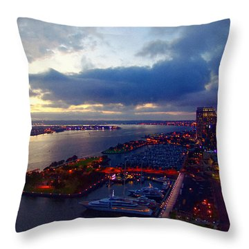 San Diego By Night Throw Pillow
