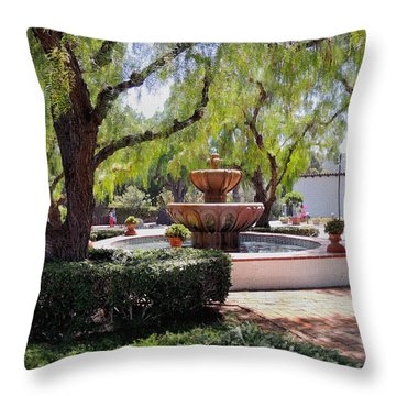 San Diego Mission Grounds Throw Pillow