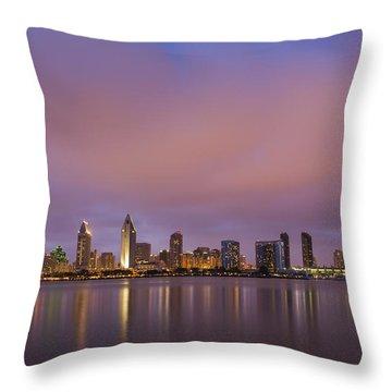 San Diego Skyline Throw Pillow by Adam Romanowicz