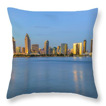 San Diego Skyline At Dusk Throw Pillow