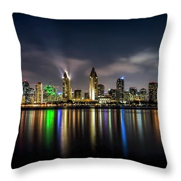 San Diego Skyline At Night Throw Pillow