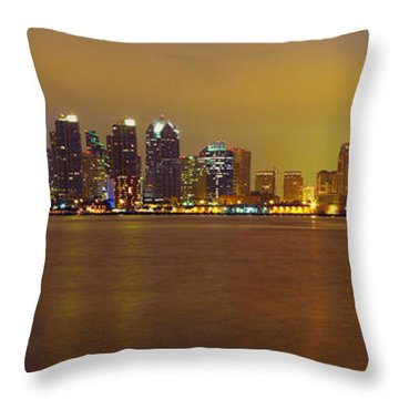 San Diego Skyline California Throw Pillow by Wernher Krutein