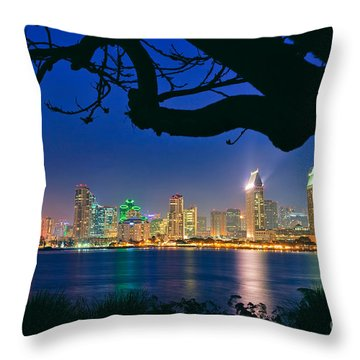 San Diego Skyline From Bay View Park In Coronado Throw Pillow