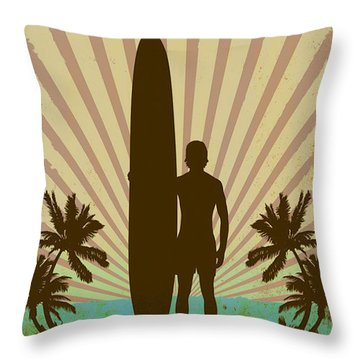 Throw Pillow featuring the digital art San Diego Surf Club by Greg Sharpe