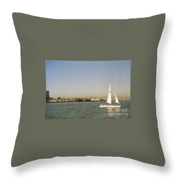 San Francisco Bay Sail Boat Throw Pillow