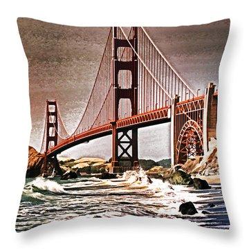 San Francisco Bridge View Throw Pillow by Dennis Cox WorldViews