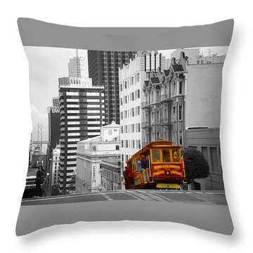 San Francisco - Red Cable Car Throw Pillow