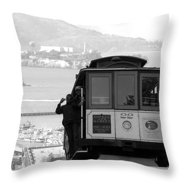 Throw Pillow featuring the photograph San Francisco Cable Car With Alcatraz by Shane Kelly