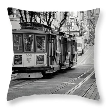 Throw Pillow featuring the photograph San Francisco Cable Cars by Eddie Yerkish