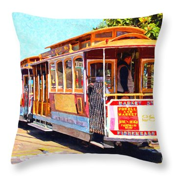San Francisco Cablecar At Fishermans Wharf . 7d14097 Throw Pillow