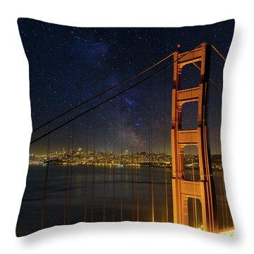 San Francisco City Skyline Through Golden Gate Bridge Throw Pillow by David Gn