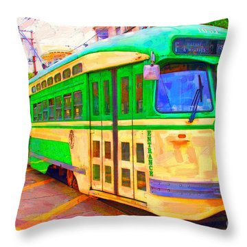 San Francisco F-line Trolley Throw Pillow