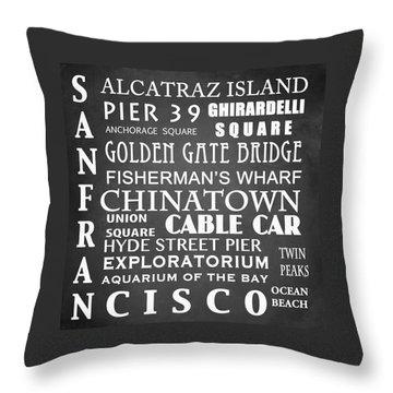 San Francisco Famous Landmarks Throw Pillow