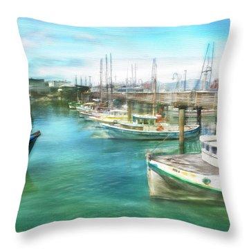 San Francisco Fishing Boats Throw Pillow