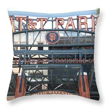 San Francisco Giants Att Park Willie Mays Entrance . 7d7635 Throw Pillow