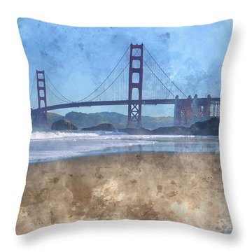 San Francisco Golden Gate Bridge In California Throw Pillow