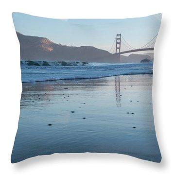 San Francisco Golden Gate Bridge Reflected On Baker's Beach Wet  Throw Pillow