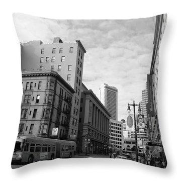 San Francisco - Jessie Street View - Black And White Throw Pillow
