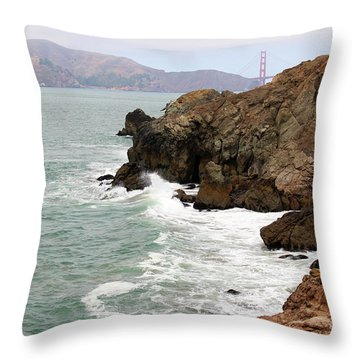 San Francisco Lands End Throw Pillow by Cheryl Del Toro