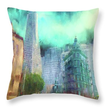 San Francisco Throw Pillow by Michael Cleere