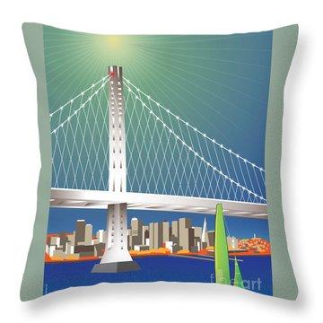San Francisco New Oakland Bay Bridge Cityscape Throw Pillow
