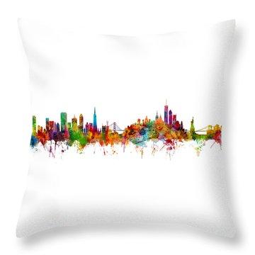 San Francisco New York Skyline Mashup Throw Pillow