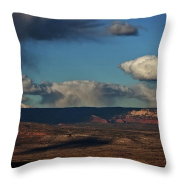 San Francisco Peaks With Snow And Clouds Throw Pillow
