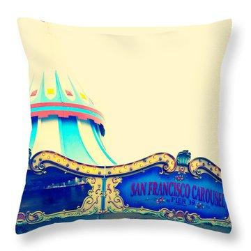 San Francisco Pier 39 Carousel Throw Pillow by Kim Fearheiley