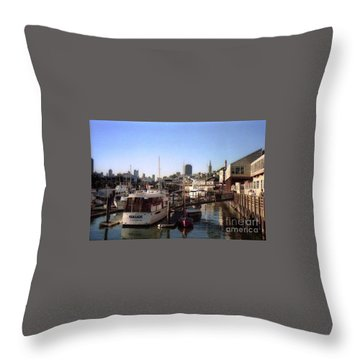 San Francisco Pier And Boats Throw Pillow by Ted Pollard