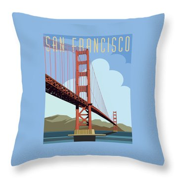 Throw Pillow featuring the digital art San Francisco Poster  by John Dyess